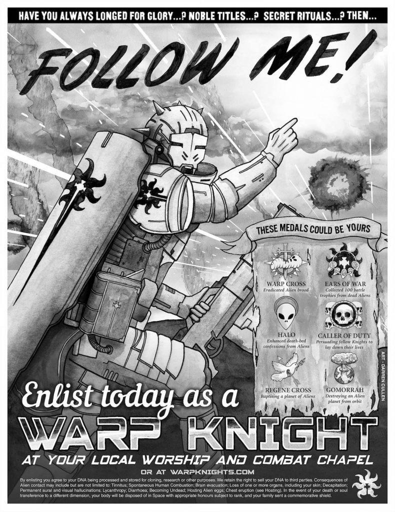 Follow Me Warp Knights recruitment poster by Darren Cullen and Pat Mills
