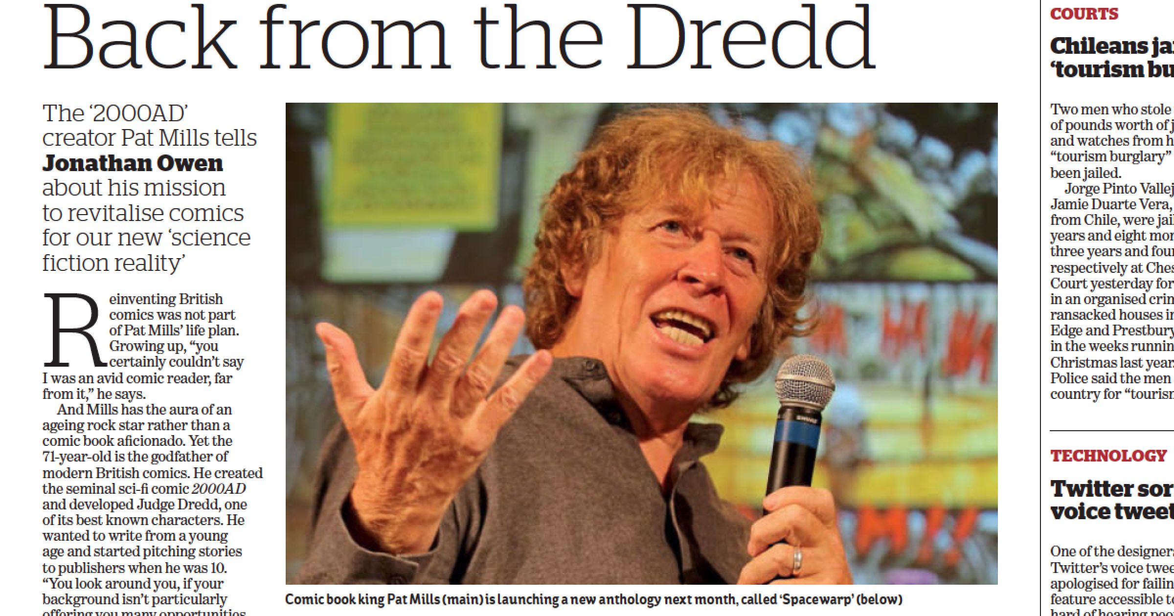 Back from the Dredd Pat Mills interview in i paper