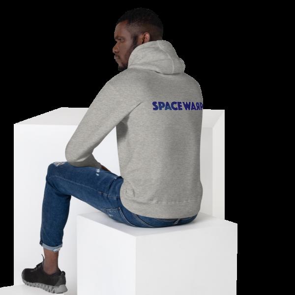 Man wearing grey Spacewarp hoodie seen from behind